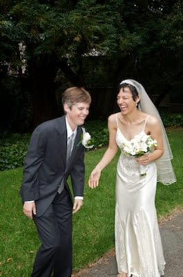 Brides laugh together on their wedding day - UC Berkeley Faculty Club - Berkeley Campus