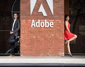 San Francisco Engagement Portrait of the happy couple in front of the Adobe office after retouching by Halbright Photography