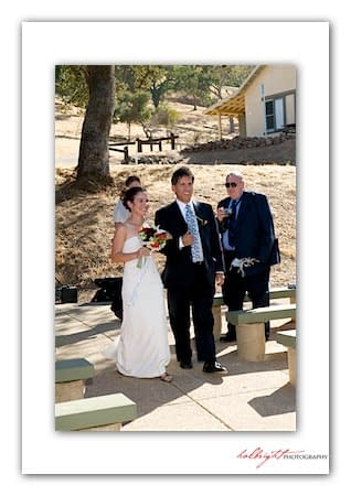 Bride is walked down the aisle - Camp Arroyo Wedding