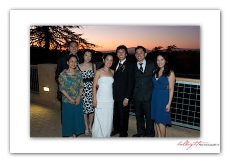 Portrait of Bride and Groom and their friends at sunset - Camp Arroyo Wedding