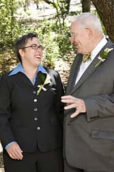 The bride with her father before her wedding at Mills College, Oakland, San Francisco Bay Area